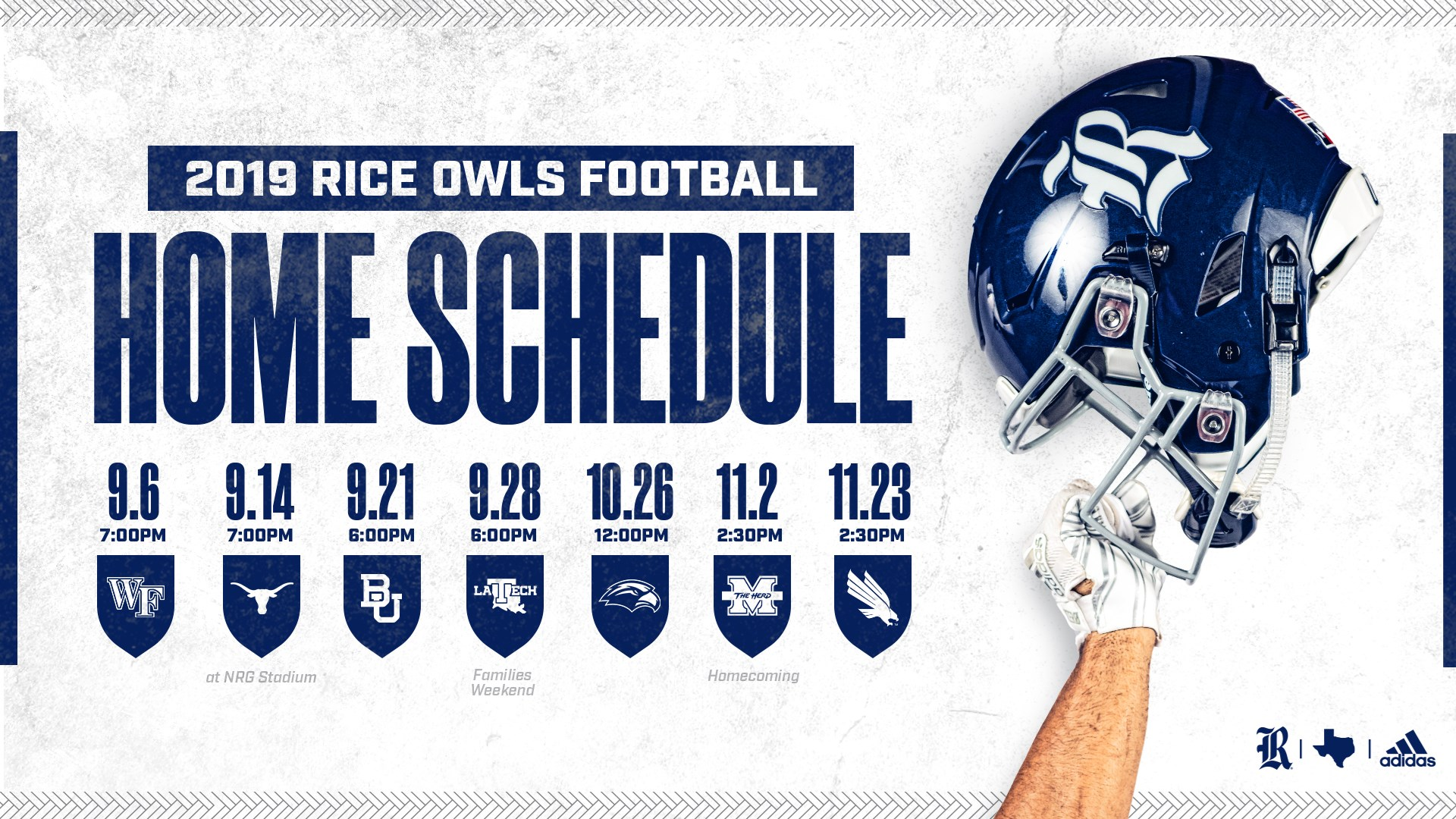 Football Announces Game Times For 2019 Home Schedule Rice